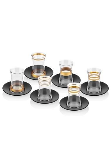 The Mia Lines Çay Bardağı 6'lı Set - Gold Siyah Altın